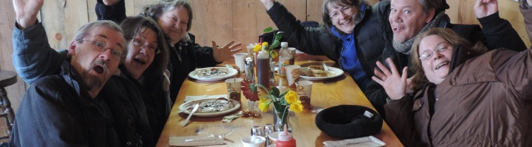 Friends eating at Steve's Sugar Shack